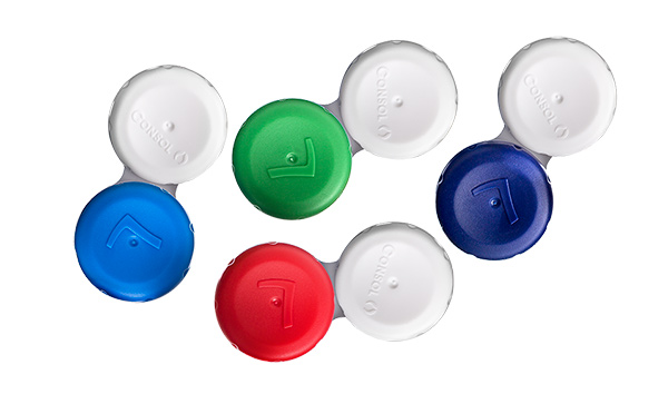 Contact lens cases in six different colours